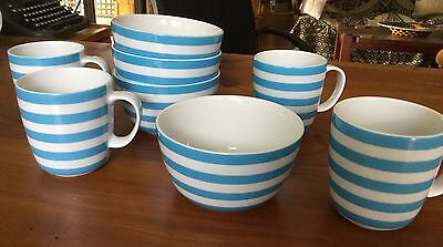 Set Of Two Country Road Mugs And Bowls White / Turquoise Stripe
