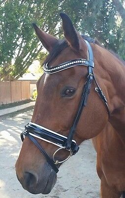 Stunning Black Leather Flash Bridle With Patent Noseband & Browband (PONY)