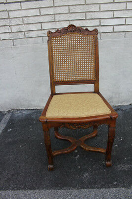 Bold 19th C. French Louis Walnut Caned Carved Vanity Desk, Side Chair