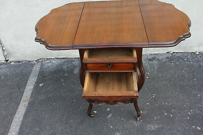 Gorgeous 19th C. French Victorian Carved Walnut Drop Leaf Sewing Table