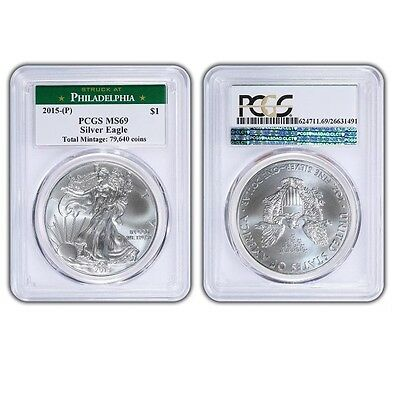 2015 (P) Silver Eagle Pcgs Ms69 Struck At Philadelphia Low Mintage Of 79,640
