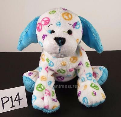 VGC Webkinz PEACE PUPPY Dog HM440 White/Blue Ears Ganz PLUSH ONLY No Code (P14)
