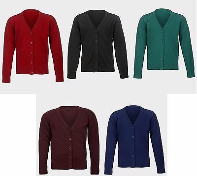 Ex M&s / Next V Neck School Girls Cotton Rich Long Sleeve Cardigan 5 Colours