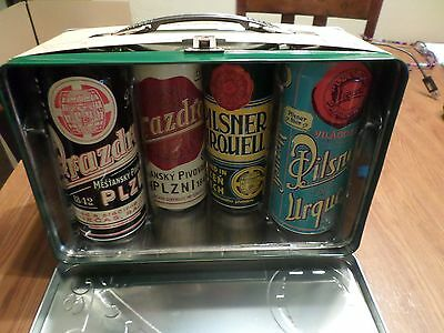 Pilsner Urquell Metal Lunchbox w/ Beer Cans Imported from Czech Republic