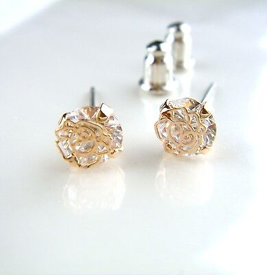 Antique Vintage Gold Tone Crystal Glass Rose Stud Earrings Tiny Small Flower