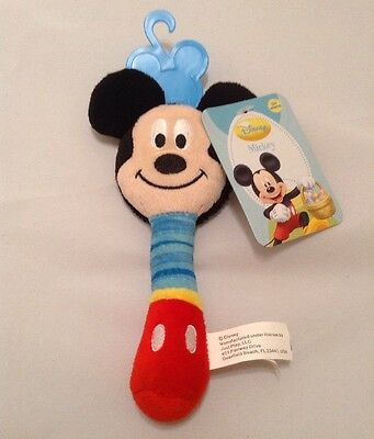 """Baby Mickey Mouse Disney Rattle Mirror Sensory Hand Toy New Just Play 2013 6.5"""""""