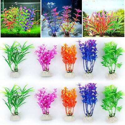 10x Mixed Artificial Aquarium Fish Tank Grass Plant Plastic Decoration Ornament