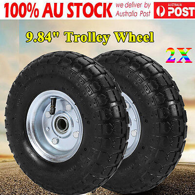 "2× 10"" inch Puncture Proof Rubber Wheels Trolley Solid Flat Free Tire Tyre 20mm"