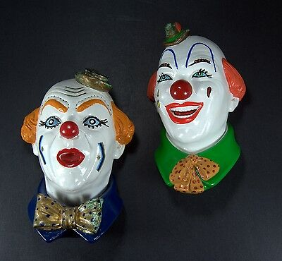 Two Gypsum Plaster Wall Hanging Clown Busts - Legend Chalkware?
