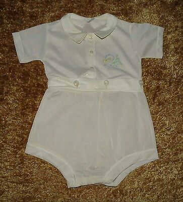 Vintage Newport Baby Boy's Plastic Lined 2 Pc Diaper Set Shortall Euc Size 1