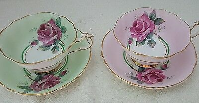 Set Of Beautiful Paragon Cups And Saucers Pink Green And Big Roses