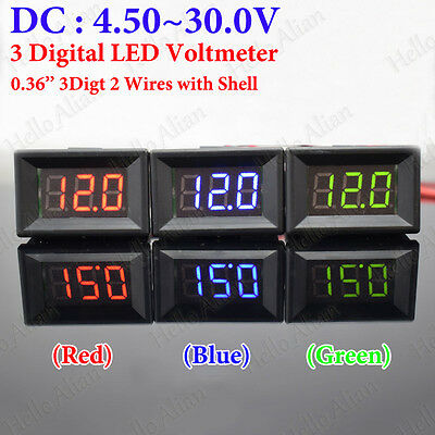 Micro DC 4.5V-30V 3-Digital LED Volt Meter 2 Wires With Shell Red/Blue/Green New