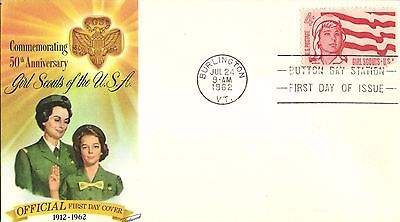 USA FDC 1962  # 1199 4c GIRL GUIDES, BEAUTIFUL FLEETWOOD COLOR CACHET