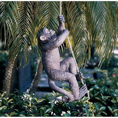Climbing Monkey Statue On 21 Inch Hemp Rope Resin Home Or Outdoor Garden Decor