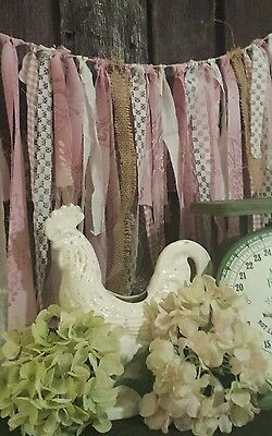 6 ft photo prop fabric garland Shabby burlap Wedding country pink mauve lace vtg
