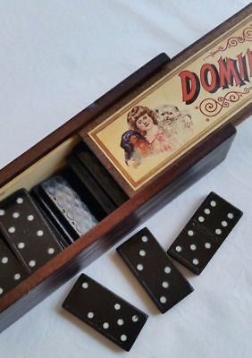 Dominoes Set In Wooden Box -  Retro Game - Vintage Games - Great Gift