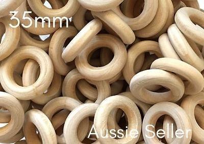 30x natural 35mm unfinished wood round rings jewellery wooden macrame DIY crafts