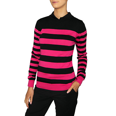 Puma Womens Nautical Golf Sweater - Black/Pink