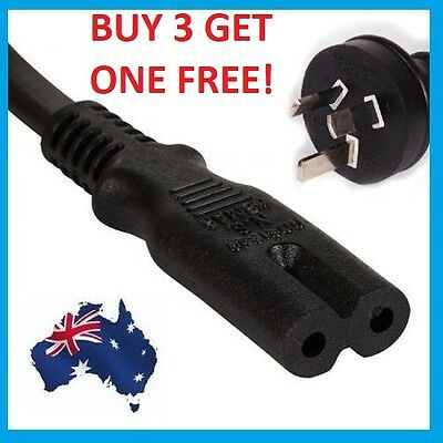 2 Pin Core Figure 8 IEC-C7 AC Power Cord Cable Lead Plug AU ps4 ps3 slim wall