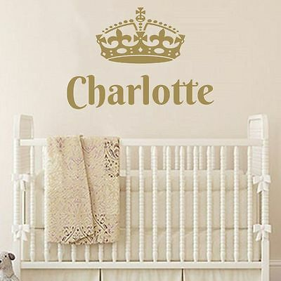 Majestic Crown and Personalized Baby Name nursery vinyl wall decals