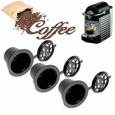5pcs Refillable Reusable Coffee Capsule Filter Cup Pods with Spoon for Nespresso