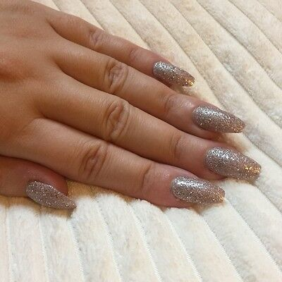 Hand Painted False Nails COFFIN (Or ANY) Glitter Sparkle Party. Rose Gold. UK