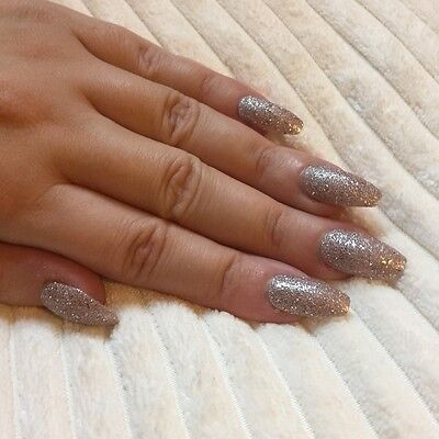 Hand Painted False Nails COFFIN (Or ANY) Sparkle Christmas Xmas Party. Rose Gold