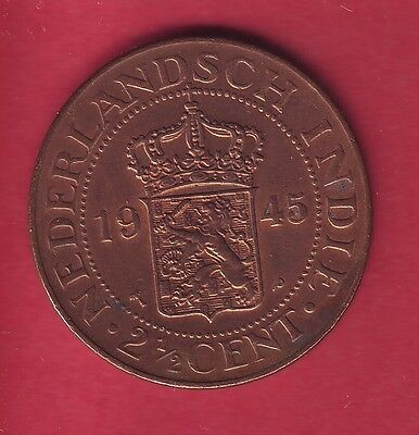 R* Netherlands East Indies 2-1/2 Cents 1945 P Xf Details