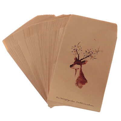 50pcs Wedding Xmas Envelopes Gift Card Postcard Small Kraft Paper Deer Envelope