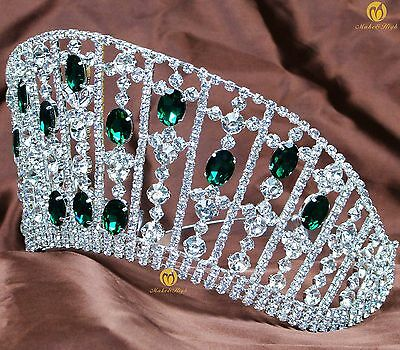 Brides Contoured Tiara Simulated Emerald Hair Crown Women Headband Jewelry Party