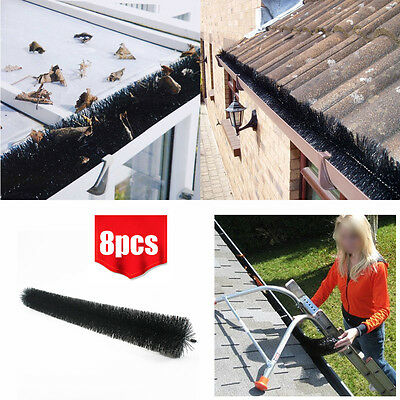 8pcs Gutter Guard Brushes Roof Rooftop Protector Filter Leaf Twigs Moss System