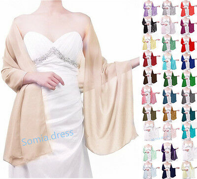 Stock Chiffon Bridal Bridesmaid Wedding Prom Party Shawl/Stole/Wraps/Sash/Scarf