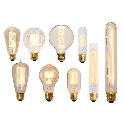 E27 Vintage Dimmable Antique Globe Filament Lamp Retro Industrial Light Bulb