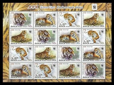 Korea 2017 wild cats tigers wwf nice klb of 16v MNH