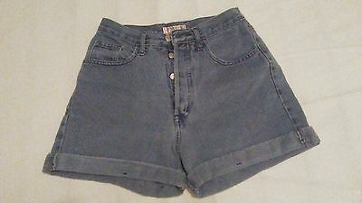Vtg 90s 80s Guess Denim High Rise Blue Jean Shorts Cuffed Button Fly