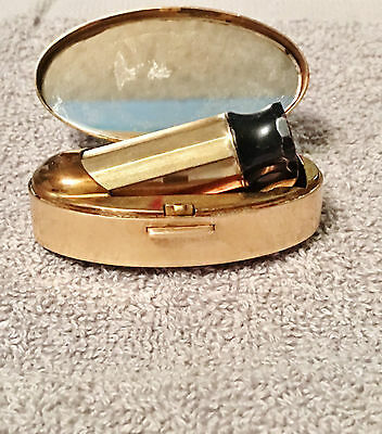 Vintage Brass Mother of Pearl Max Factor Lipstick and Mirror Compact