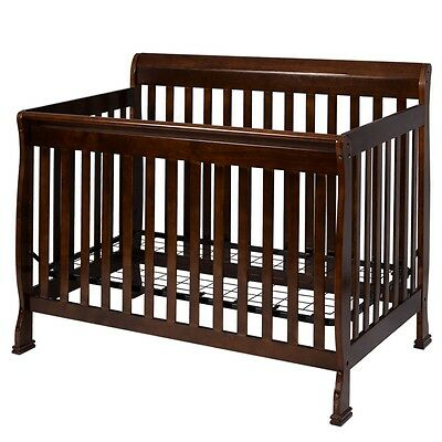 2017 Coffee Pine Wood Baby Toddler Safety Bed Convertible Crib Nursery Tool