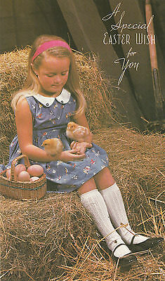 Vintage 1970's Cute Happy Easter Greeting Card ~ Girl In Barn with Baby Chicks