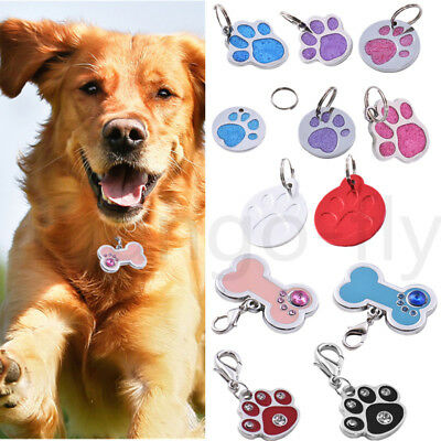 Unique Glitter Customised Name ID Engraved Paw Dog Tag Puppy Kitten Cat Pet Tags