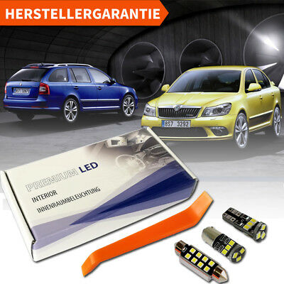 Skoda Octavia 2 II 1Z LED Innenraumbeleuchtung Premium Set Weiss Xenon Canbus