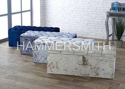 "Sale!!!! Large 40"" Crushed Velvet Ottoman Blanket Storage Box In Various Colours"