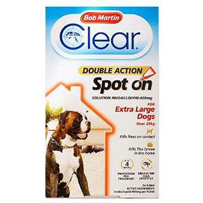 Bob Martin Clear Double Action Spot On for Extra Large Dogs (3 Pack), Kills Flea