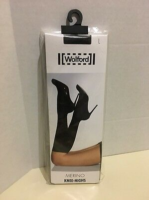 New Wolford Merino Knee Highs socks Color: Mocca Size: Large 31310. (S2)