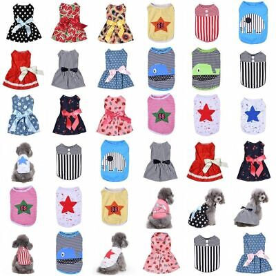 Various Pet Puppy Summer Shirt Small Dog Cat Pet Dress Clothes Vest Bow Skirt