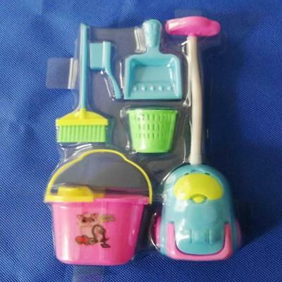 For Barbie Dolls House Miniature Accessories Broom Bucket Cleaning Tools Set