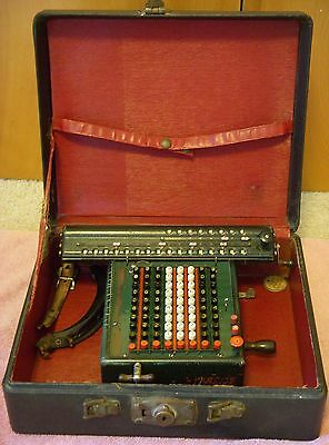 Vintage Monroe Manual Calculator Calculating Machine with Key and Case Green