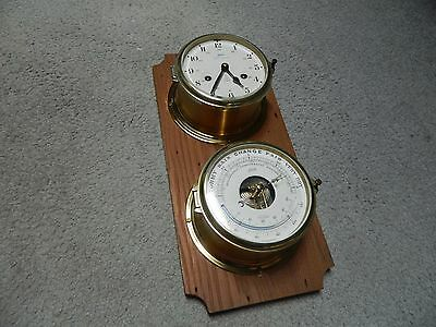 RARE Antique Vintage Schatz Maritime Ship's Clock and Barometer with key WOW!