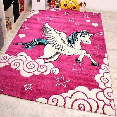 Kids Pink Rug Animals Unicorn Modern Carpet Girls Playroom Carpet Play Mat