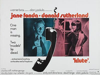 """Klute 16"""" x 12"""" Reproduction Movie Poster Photograph"""