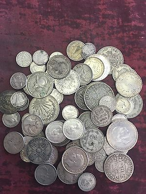 NICE MIXED LOT OF FOREIGN SILVER COINS - SOME NICE STUFF IN HERE  Heavy Lot...